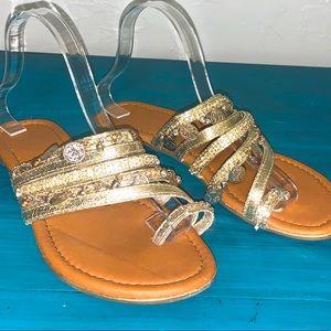 Madeline Stuart Gold Coin & Rhinestone Sandals
